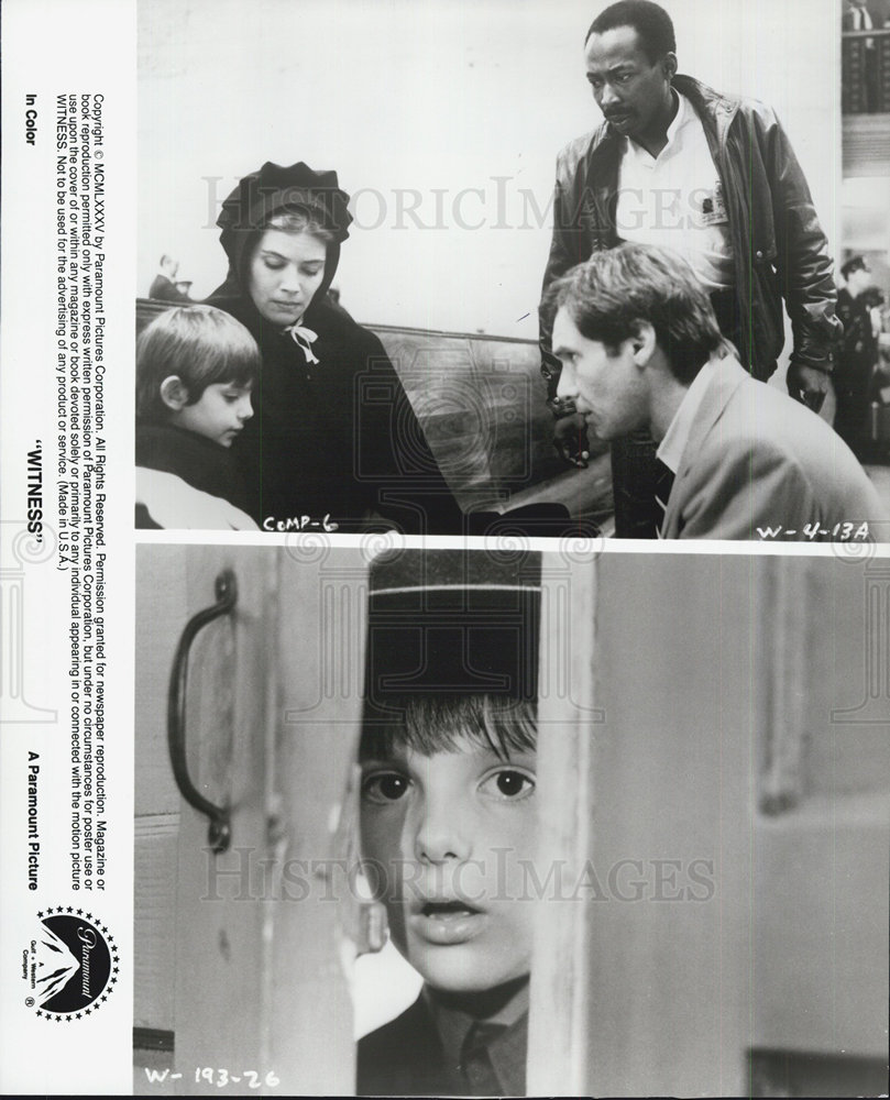 1985 Press Photo Harrison Ford and Kelly McGillis and Lukas Haas