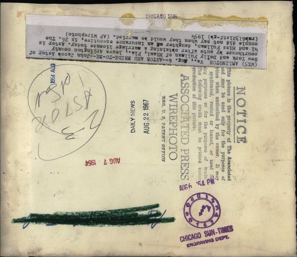 1954 Press Photo John Jacob Astor New York Dolly Fullman Miami