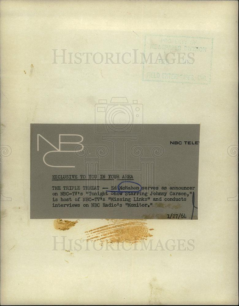1964 Press Photo ED MCMAHON AMERICAN COMEDIAN ANNOUNCER