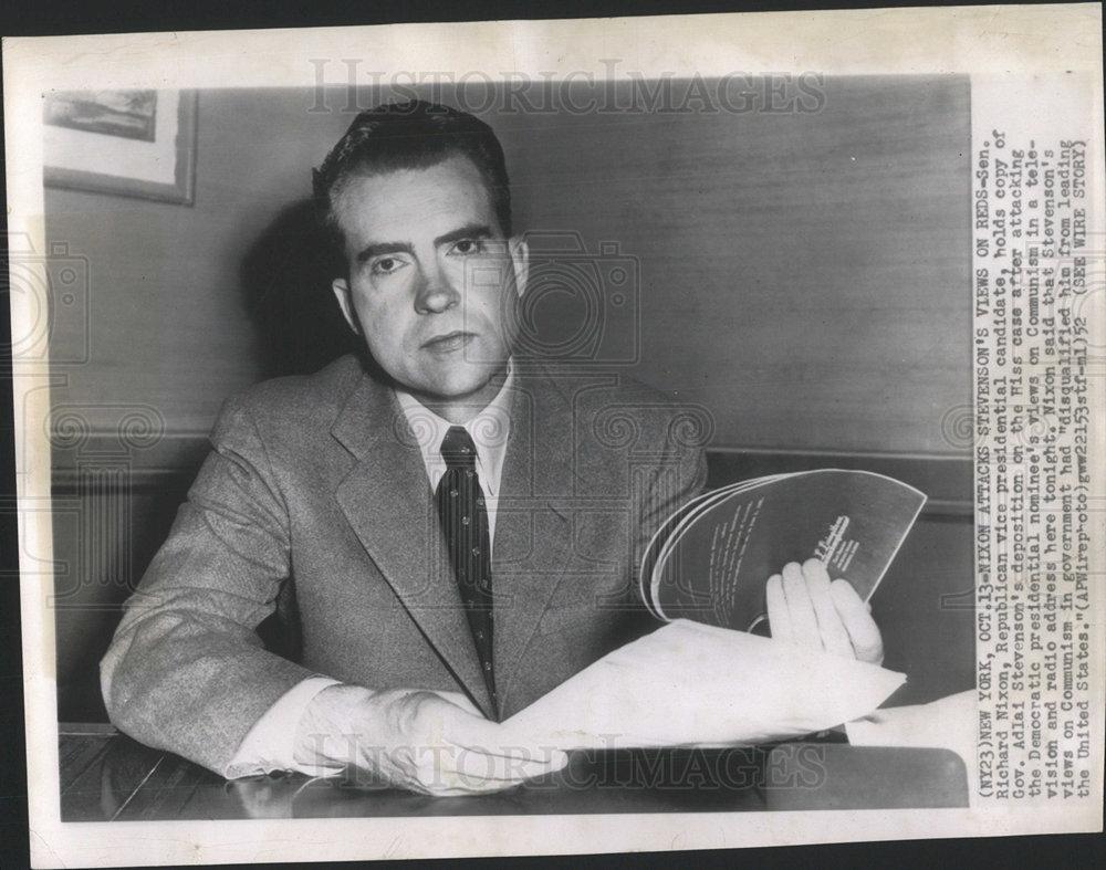 1952 Press Photo Sen Richard Nixon Vice Presidential Candidate ...