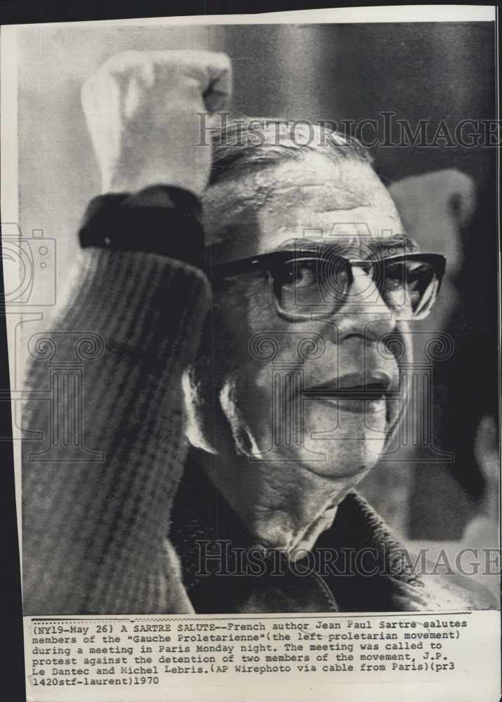 1970 Press Photo French Author Jean-Paul Sartre