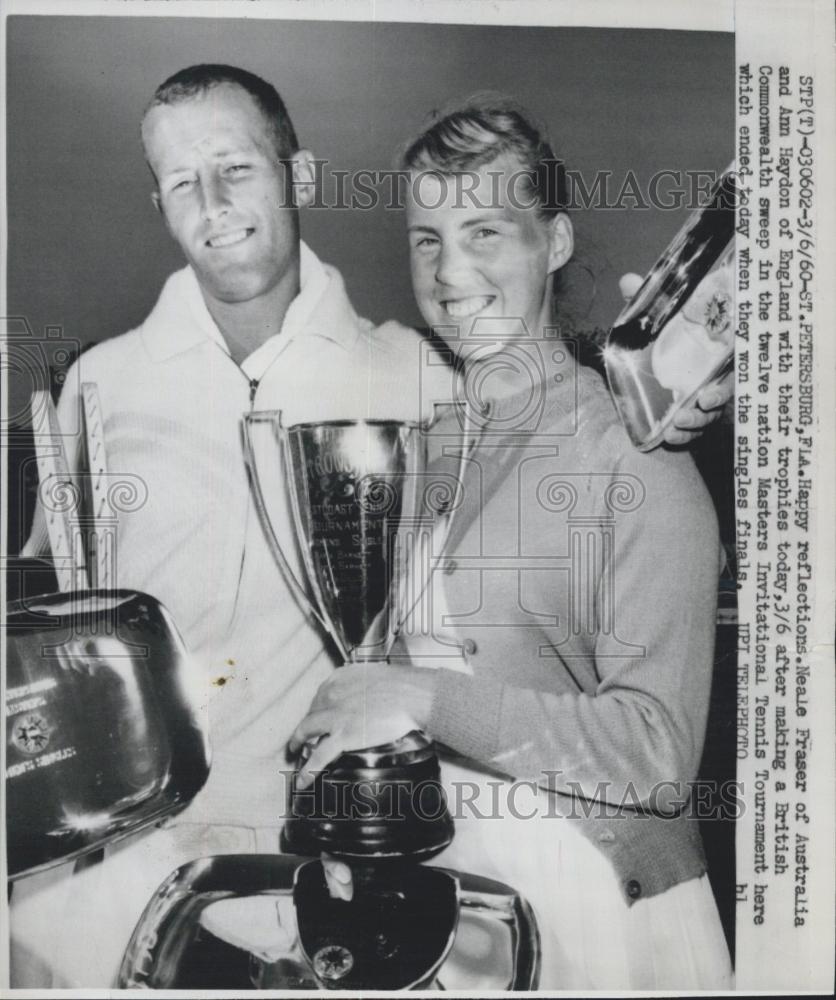 1960 Press Neale Fraser & Ann Hayden Masters Intl tennis