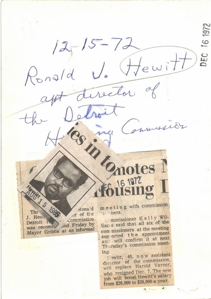 1972 Press Photo Ronald Hewitt Detroit Housing director