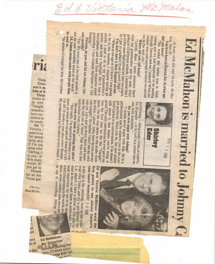 1985 Press Photo Ed Victoria McMahon Johnny Carson home