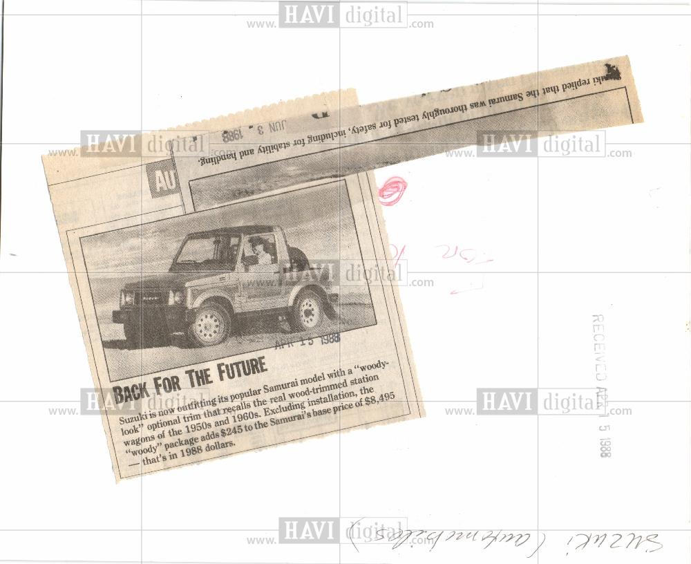 1988 Press Photo Suzuki Samurai 1988 Woody Package | Historic Images